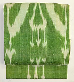 白と緑アンティークアドラス名古屋帯