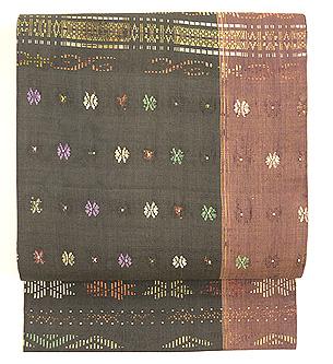 インドネシア蝶々模様紋織名古屋帯