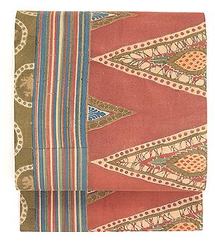 三角モチーフのインド更紗名古屋帯