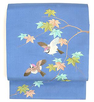 楓と雀刺繍名古屋帯