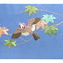 楓と雀刺繍名古屋帯 前中心