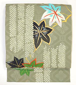 絞りに色カエデ刺繍名古屋帯