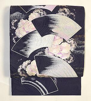 扇面に桜の浪刺繍袋帯