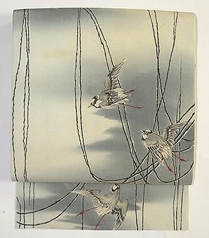 百舌鳥の図名古屋帯