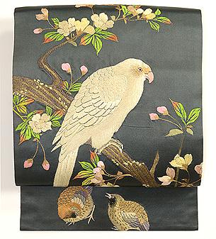 枝桜と鳥達の図刺繍名古屋帯