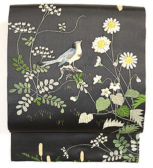 春の草花と鳥の図刺繍帯