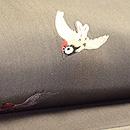 雀の刺繍と黄八丈の帯 質感・風合