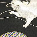 猫の手毬刺繍帯 質感・風合