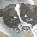 2匹の犬の図名古屋帯 質感・風合