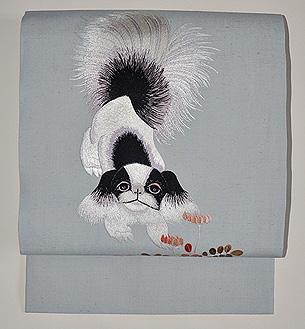 レンゲに仔犬刺繍帯