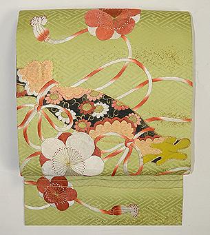 梅に篳篥(ひちりき)の刺繍名古屋帯