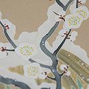 雪持ち梅に水仙染め名古屋帯 質感・風合