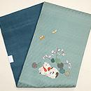 秋海棠に猫刺繍の名古屋帯 帯裏