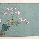 秋海棠に猫刺繍の名古屋帯 前中心