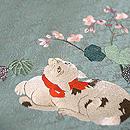 秋海棠に猫刺繍の名古屋帯 質感・風合