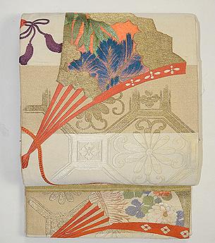 蜀江文に檜扇の刺繍名古屋帯