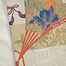 蜀江文に檜扇の刺繍名古屋帯 帯裏