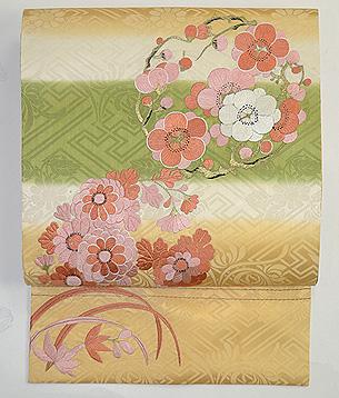 菊に梅の花丸紋名古屋帯