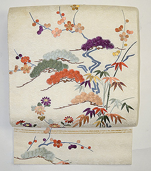 流水に松竹梅、菊の刺繍名古屋帯