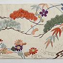 流水に松竹梅、菊の刺繍名古屋帯 前中心
