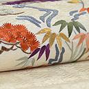 流水に松竹梅、菊の刺繍名古屋帯 質感・風合