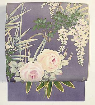 四季の花々染名古屋帯 その1