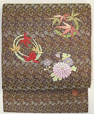 四君子刺繍丸帯