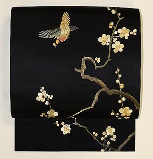 梅枝に小鳥刺繍帯