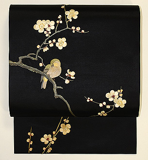 梅枝に鶯刺繍帯