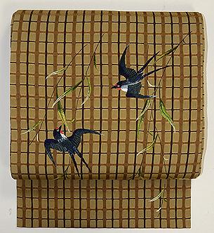 柳に燕刺繍名古屋帯