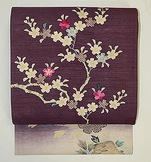 紫紬地桜木の名古屋帯