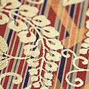 川島織物製 桧垣に藤文様袋帯 金糸の刺繍