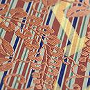 川島織物製 桧垣に藤文様袋帯 洗朱糸の刺繍(自然光で撮影)