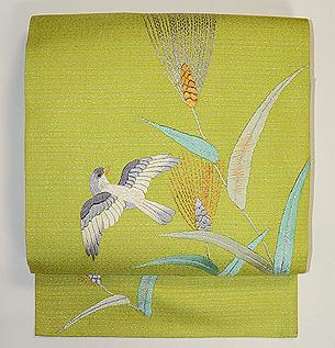 麦畑を舞う小鳥の図名古屋帯