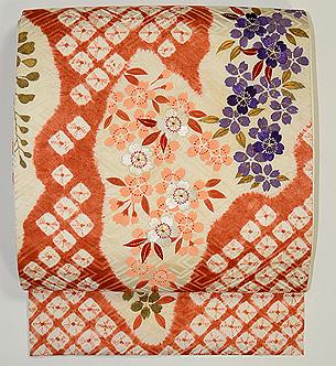 桜と枝垂れ藤刺繍絞り名古屋帯