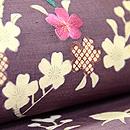 紫紬地桜木の名古屋帯  質感・風合