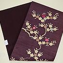 紫紬地桜木の名古屋帯  帯裏