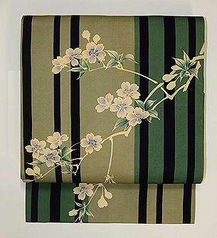棒縞に桜の名古屋帯