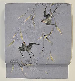 枝垂れ柳に燕の図名古屋帯