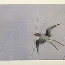 枝垂れ柳に燕の図名古屋帯 前中心