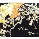 黒地桜に扇面散らし名古屋帯  前中心