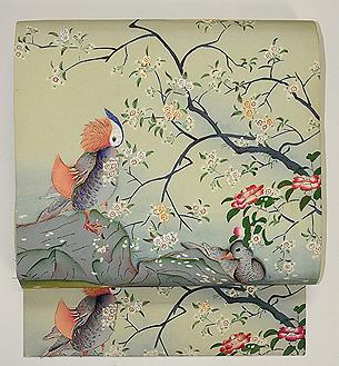 桜下に鴛鴦の図名古屋帯