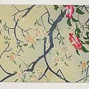 桜下に鴛鴦の図名古屋帯  前中心