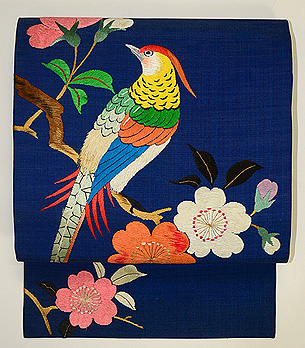花喰い鳥刺繍の名古屋帯