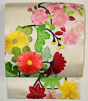花の丸文刺繍名古屋帯