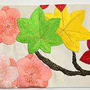 花の丸文刺繍名古屋帯 前中心