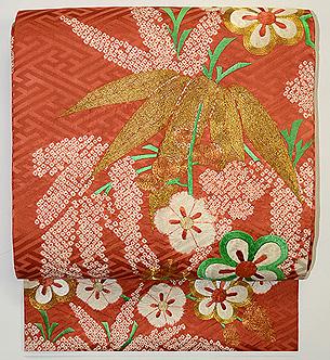 紋綸子梅刺繍名古屋帯
