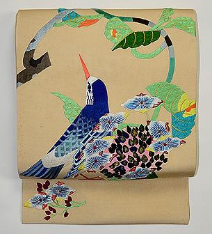 紫陽花と青い鳥刺繍名古屋帯