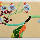紫陽花と青い鳥刺繍名古屋帯 前中心