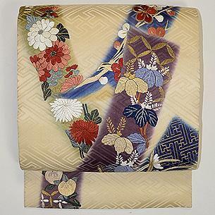 短冊に四季の花文刺繍開き名古屋帯